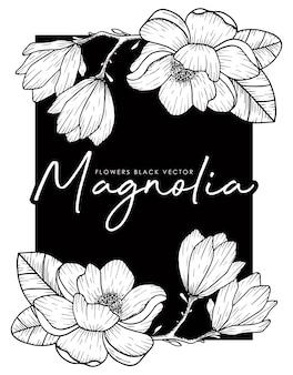 Illustrazione disegnata a mano di line-art della magnolia su fondo nero