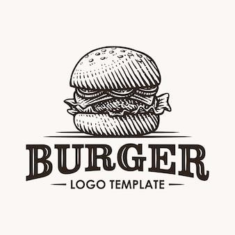 Illustrazione disegnata a mano di logo dell'hamburger d'annata