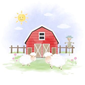 Illustrazione disegnata a mano di pecore, spaventapasseri e fienile