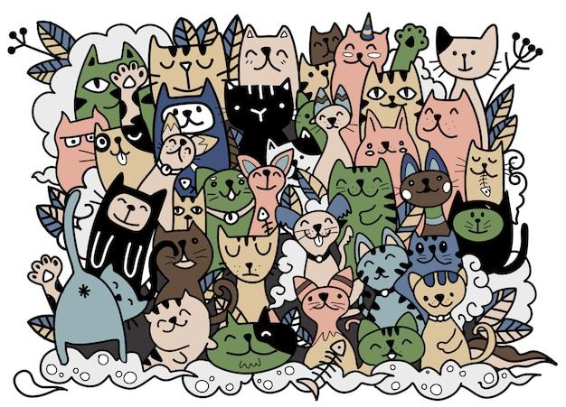 Illustrazione disegnata a mano di personaggi di gatti. stile schizzo. scarabocchio