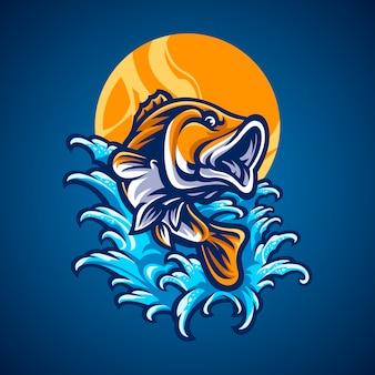 Illustrazione disegnata a mano di pesce