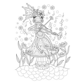 Illustrazione disegnata a mano di rana che suona il violino.