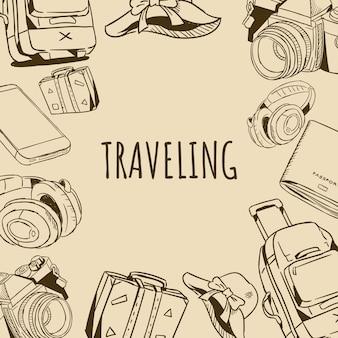 Illustrazione disegnata a mano di scarabocchio degli strumenti del pacchetto di viaggio