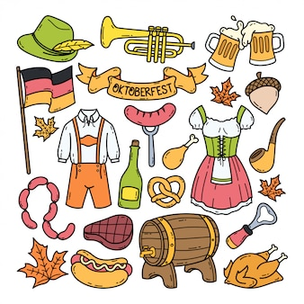 Illustrazione disegnata a mano di scarabocchio di oktoberfest