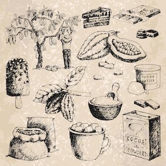 Illustrazione disegnata a mano di schizzo dei prodotti del cacao di vettore.