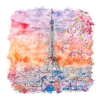 Illustrazione disegnata a mano di schizzo dell'acquerello di parigi francia di tramonto