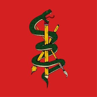 Illustrazione disegnata a mano di serpente