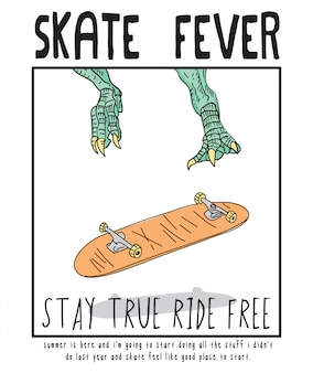 Illustrazione disegnata a mano di skateboard di febbre da skateboard