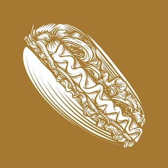 Illustrazione disegnata a mano di stile del hot dog