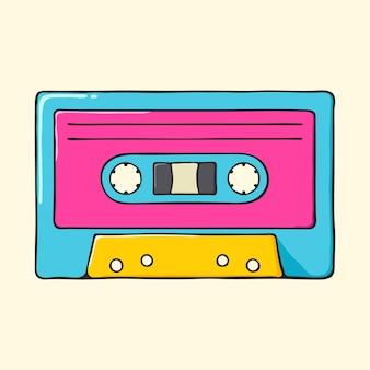 Illustrazione disegnata a mano di stile di pop art della retro cassetta audio.