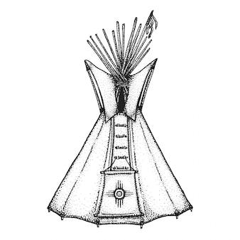 Illustrazione disegnata a mano di tipi indiani dell'annata