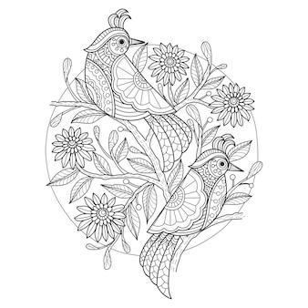 Illustrazione disegnata a mano di uccelli in stile zentangle