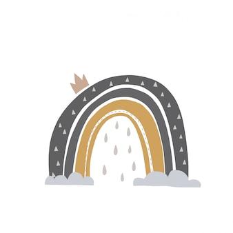 Illustrazione disegnata a mano di un arcobaleni svegli. design piatto in stile scandinavo per bambini. il concetto di tessuti per bambini, tazze, cartoline, baby shower, copertine.