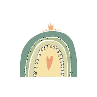 Illustrazione disegnata a mano di un arcobaleni svegli. design piatto in stile scandinavo per bambini.