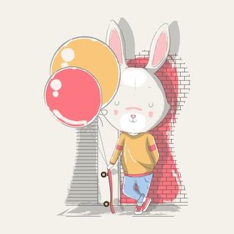 Illustrazione disegnata a mano di un coniglietto bambino carino con skateboard e palloncini.