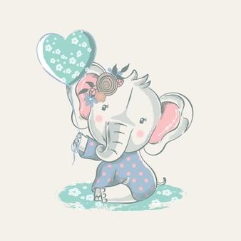Illustrazione disegnata a mano di un elefante sveglio del bambino con l'aerostato.