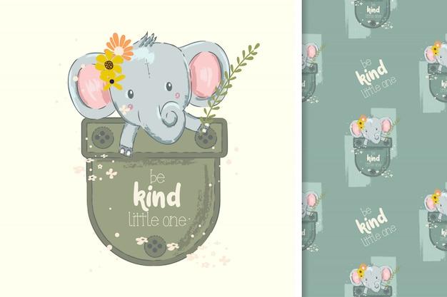 Illustrazione disegnata a mano di un elefante sveglio del bambino su una tasca