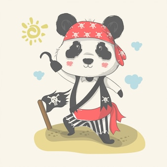 Illustrazione disegnata a mano di un simpatico baby panda con costume pirata.