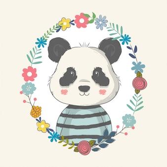 Illustrazione disegnata a mano di un simpatico baby panda con fiori.