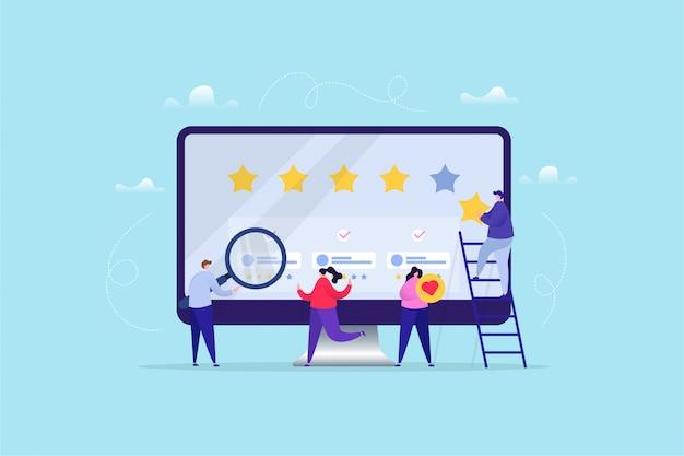 Illustrazione disegnata a mano di valutazione / feedback online