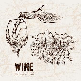 Illustrazione disegnata a mano di vetro di vino di arte dettagliata linea