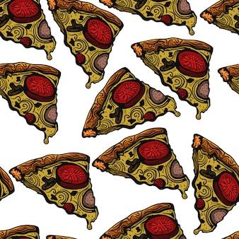 Illustrazione disegnata a mano di vettore del modello di schizzo della pizza