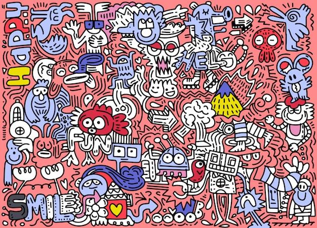 Illustrazione disegnata a mano di vettore del mondo divertente di scarabocchio, disegno a tratteggio dell'illustratore, progettazione piana