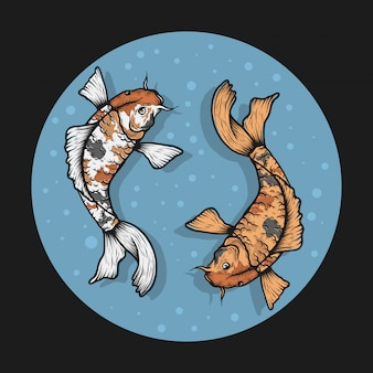Illustrazione disegnata a mano di vettore del pesce di koi dell'annata