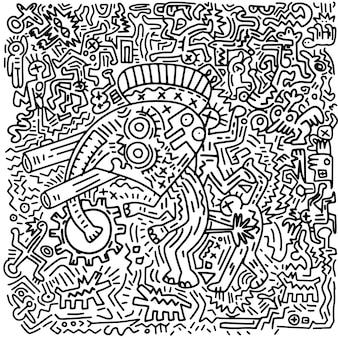 Illustrazione disegnata a mano di vettore dell'elefante e dell'essere umano divertenti di scarabocchio, disegno a tratteggio degli strumenti dell'illustratore