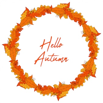 Illustrazione disegnata a mano di vettore della corona della struttura delle foglie di autunno