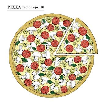 Illustrazione disegnata a mano di vettore della pizza italiana. può essere utilizzato per pizzeria, caffetteria, negozio, ristorante.