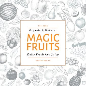 Illustrazione disegnata a mano di vettore delle bacche e di frutti. design di banner stile vintage inciso.