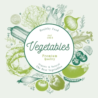 Illustrazione disegnata a mano di vettore delle verdure design del telaio stile vintage inciso