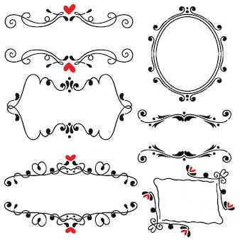 Illustrazione disegnata a mano di vettore di arte di nozze del confine della linea disegnata a mano