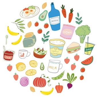 Illustrazione disegnata a mano di vettore di cibo e bevande