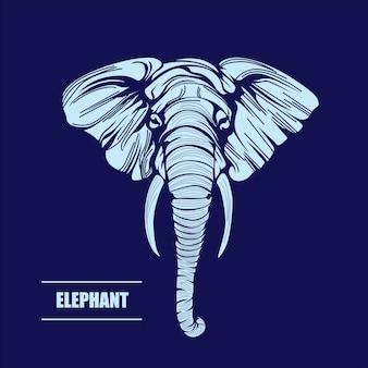 Illustrazione disegnata a mano di vettore di elefante