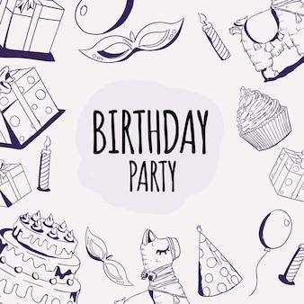 Illustrazione disegnata a mano di vettore di scarabocchio dell'elemento di divertimento della festa di compleanno