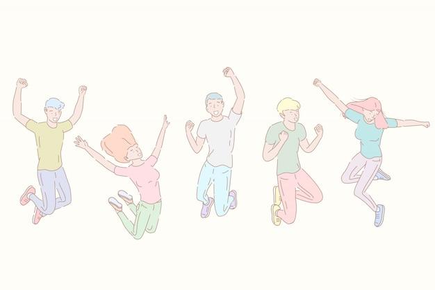 Illustrazione disegnata a mano di vettore di stile di salto della gente felice, successo della squadra.