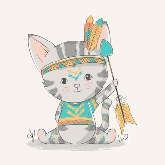 Illustrazione disegnata a mano di vettore di un gattino sveglio del bambino con una piuma.