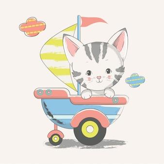 Illustrazione disegnata a mano di vettore di un marinaio sveglio del gattino del bambino