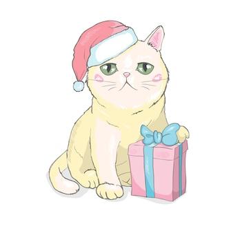 Illustrazione disegnata a mano di vettore di una faccia di gatto divertente carina in cappello di babbo natale