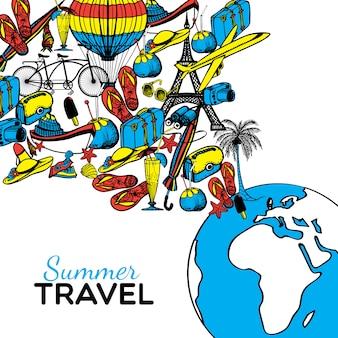 Illustrazione disegnata a mano di viaggio