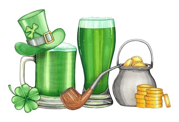 Illustrazione disegnata a mano entro un giorno di san patrizio con birra verde