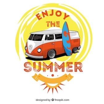 Illustrazione disegnata a mano estate con roulotte d'epoca