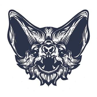Illustrazione disegnata a mano faccia di pipistrello