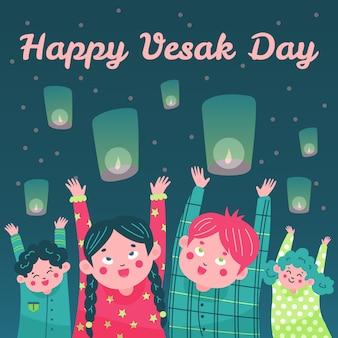 Illustrazione disegnata a mano felice di giorno del vesak