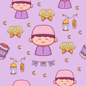 Illustrazione disegnata a mano felice ramadhan modello senza cuciture islamico