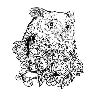 Illustrazione disegnata a mano in bianco e nero ornamento incisione gufo
