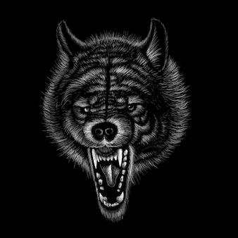 Illustrazione disegnata a mano in stile gesso del lupo