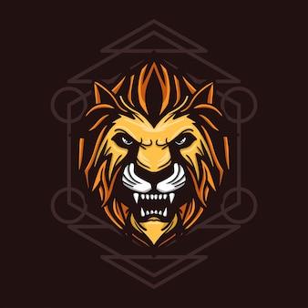 Illustrazione disegnata a mano leone arrabbiato